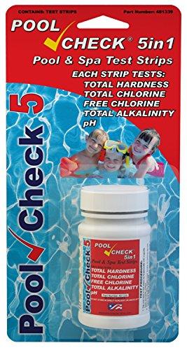 Pool Check - Tiras de prueba 5en 1para piscinas, spas y jacuzzis, dureza, cloro total y libre, alcalinidad total