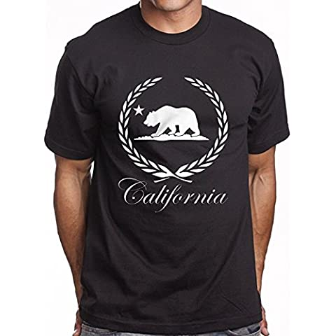 Men's Black Graphic T shirt California Bear Caddy Wreath Logo urban Crew Tee