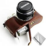 First2savvv dunkelbraun Gehäusehälfte präzise Passform PU-Leder Kameratasche Fall Tasche Cover für Olympus PEN E-PL9 E-PL8 E-PL7 - XJD-EPL9-D10G11