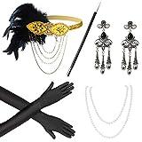 Beelittle 1920s Accesorios Set Diadema, Collar, Guantes, Porta-Cigarrillos Great Gatsby Disfraces Set para Mujeres (G3)