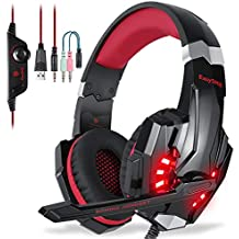 EasySMX Gaming Headset with Mic for PS4, Comfortable Noise Reduction Crystal Clarity 3.5mm LED Professional Headphone with Mic for Xbox One PC Laptop Tablet Mac Smart Phone