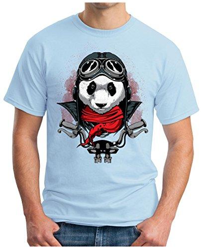 OM3 - PANDA-RIDER - T-Shirt BIKER ROCKER MC BEAR MOTOR CLUB 1%er FAST FURIOUS GEEK Himmelblau