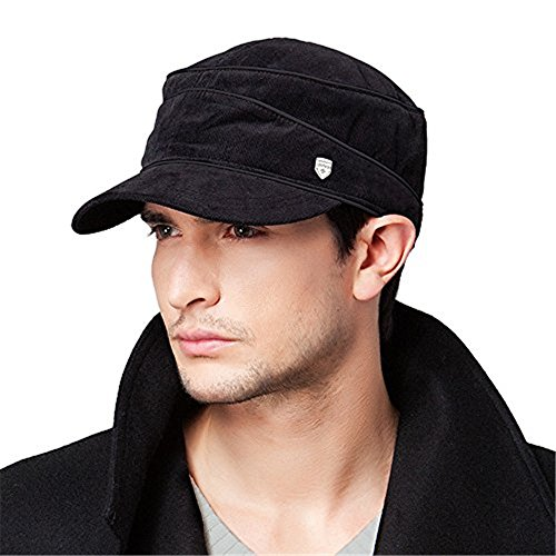 Kenmont Frühling Herbst Men, schwarz, 100% Baumwolle, Militär-Mütze/Baseball-Cap (Baumwolle 100% Cap)