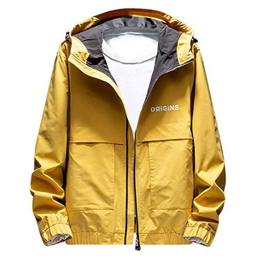 Briskorry Regenjacke Herren Light Langarm Jacke Windbreaker Coole Jacke Mit Kapuzen Streetwear Freizeitjacke mit Reißverschluss