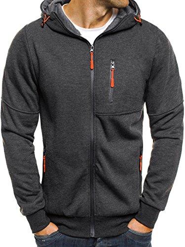 OZONEE Herren Sweatshirt Pullover Kaputzenpullover Pulli Sweats Motiv RED FIREBALL 2838 XL DUNKELGRAU