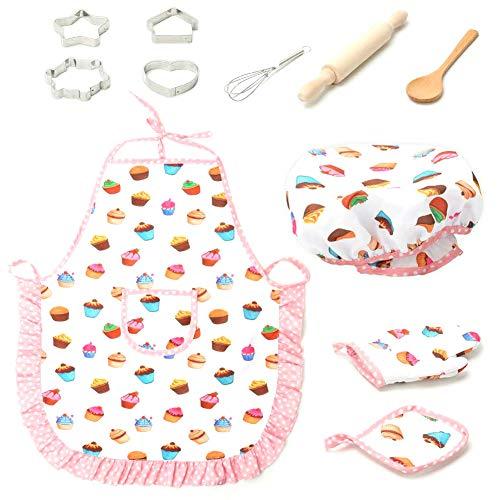 Kostüm Kuchen - ANGGO 11 Stücke Küche Spielzeug Set Kochen Und Backen Küche Kostüm Hut Rollenspiel Werkzeug Kuchen Kochen Spiel Für Kinder Mädchen