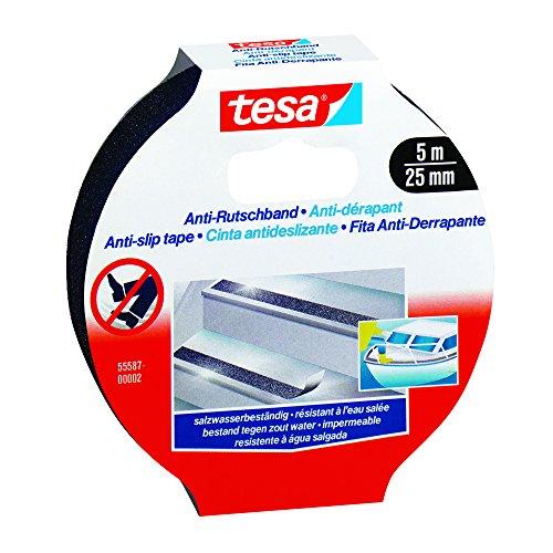 Tesa 55587-00002-00 Anti-Rutschband schwarz, 5m x 25mm