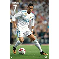 Póster Real Madrid - Cristiano Ronaldo N° 7 [Temporada 2017/2018] (61cm x 91,5cm) + 2 Marcos Transparentes con Suspención