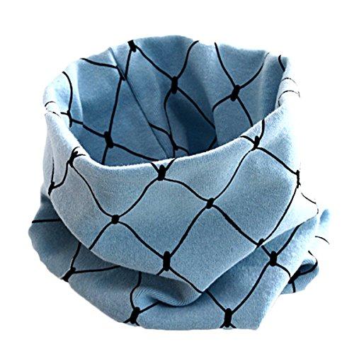 Tininna Hiver Bébé Fille Garçon col écharpe Coton O Anneau Foulard écharpes Motif grille col Manchons pour enfants bleu bleu clair