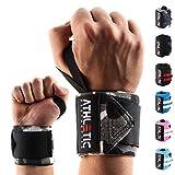 ATHLETIC AESTHETICS Handgelenkbandage [2er Set] in 45cm/60cm Länge - Wrist Wraps fürs Krafttraining, Bodybuilding, Crossfit und Fitness - Handgelenkbandagen für Frauen und Männer geeignet