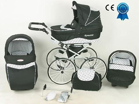 Poussette combinée 3 en 1 rétro avec poussette grandes roues nacelle et siège cosy auto+ombrelle offerte