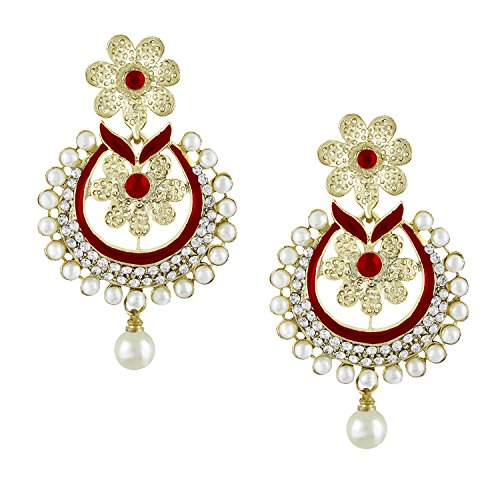 Shining Jewel Gold Plated Tradtional Ethnic Chand Bali Red Earring (SJ_284)  available at amazon for Rs.234