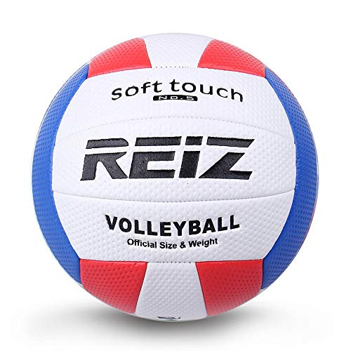 Yaoaofron Soft Touch PU Leather 5# Volleyball Ball Training Competition Volleyball Ball White & Red & Blue