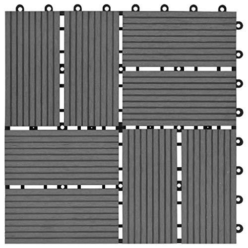 Tidyard 11 Unidades Suelo Exterior de WPC,Baldosas Terraza Exterior para Porche Patios Balcones Baños Piscina o SPA,Resistentes al Agua,30x30cm 1m² Gris