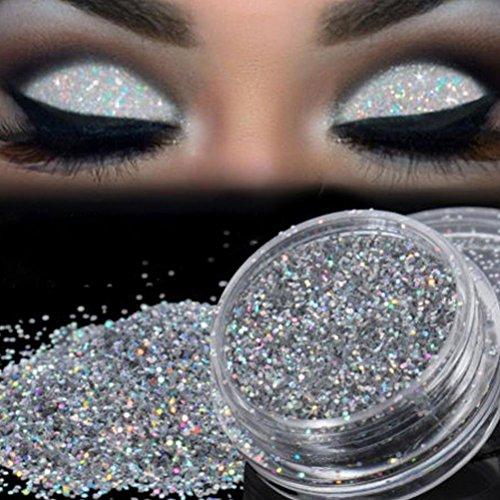 Pallette Fards à Paupière, Moonuy Glitterly maquillage paillettes poudre fard à paupières Chunky sirène holographique paillettes très pigment Silver Eye Shadow (A)