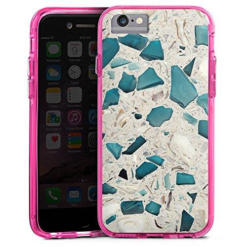 Apple iPhone X Bumper Hülle Bumper Case Glitzer Hülle Marmor Muster Tuerkis Bumper Case transparent pink