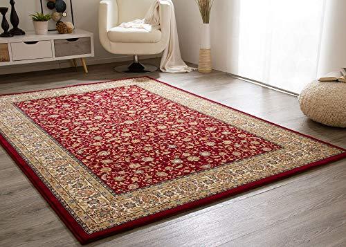 *Steffensmeier Wohnzimmerteppich Classical Quality | Kurzflor Teppich rot, Größe: 80×150 cm, Isfahan Perserteppich orientalisch gemustert*