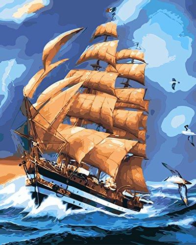 DIY Vorgedruckt Leinwand-Ölgemälde Geschenk für Erwachsene Kinder Malen Nach Zahlen Kits Home Haus Dekor - Brown-Schiff und Seemöwe 40*50 cm - Schiffe Dekor