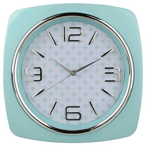 Reloj de pared cuadrado - Estilo años Setenta - Color Verde Menta