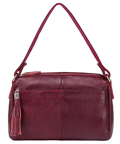 Vintage Borsa a Tracolla Donna Messenger Borse Pelle Spalla Tote Piccolo Clutch Rosso Red