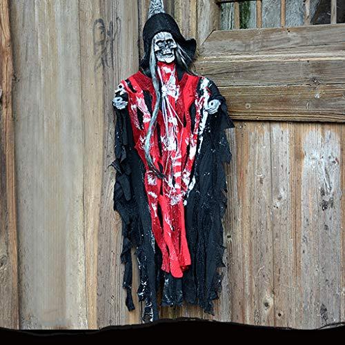 JIBO Horror Colgando Fantasma Decoración Halloween Props Haunted House Bar Fantasma Colgante Toy Glowing Ghost Voice Ghost Festival,Red