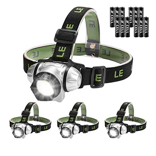 LE Linterna Frontal LED con Luz roja 3W 150lm, Pilas AAA incluidas, Pack de 4 para acampada, correr, caminata, casco, deporte grupo, etc.