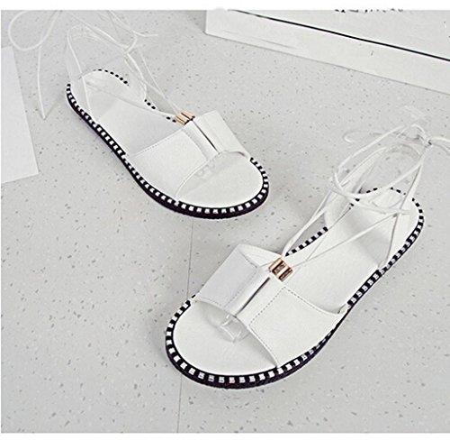 Amcool Frauen Einstellbar Strap Flach Sandalen Schuhe Weiß