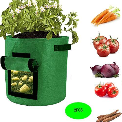 sokey Sacco per Piante, Sacchetto per Patate, Grow Planter Bags, vasi per Piante da Giardino, Ventilazione Naturale per la Coltivazione di Verdure e Piante di Patate Sane – 2 Pezzi