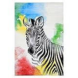 Kinder-Jugend-Teppich Bambino Young Flachflor Kurzflor Modern Zebra Weiss Farbig Größe 120/170 cm