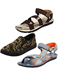 Earton Multicolor Men Combo Pack of 3 Sandals & Floaters with Casual Loafers Shoe