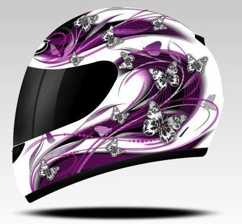 mt casque casque moto int gral pour femme motif papillon rose violet evoluzon. Black Bedroom Furniture Sets. Home Design Ideas