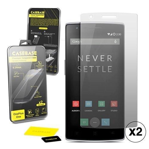 Casebase Premium Gehärtetem Glas Displayschutzfolien Doppelpack für OnePlus One (Schlanke Grafiken)