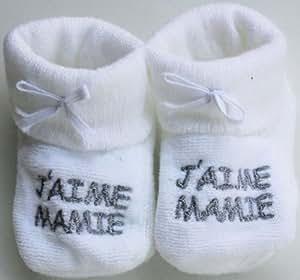 """Chaussons bébé brodé """"j'aime mamie"""" blanc/argent 0/3mois"""