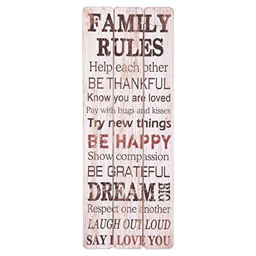 Clayre & Eef 5H0070 Wandschild Holzschild weiß- braun mit farbiger Schrift 'Family Rules...'