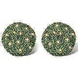 vidaXL Topiaria Palla con Foglie Artificiali in Legno di bosso 40 Centimetri con Il LED Solare 2 Pezzi