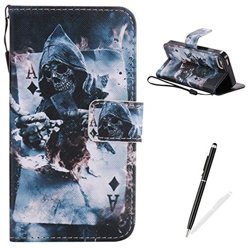 Price comparison product image Feeltech for iPhone 5 / 5S / SE Case Premium PU Leather Book Wallet Cover Cartoon Pattern - Poker