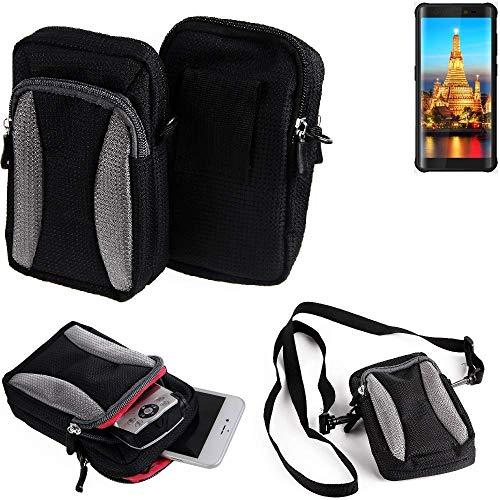 Für Energizer H590S Gürteltasche Umhängetasche Für Energizer H590S schwarz-grau + Extrafach mit Platz für Powerbank, Festplatte etc.   Case travelbag Brustbeutel Brusttasche- K-S-Tra