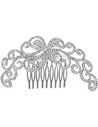 EVER FAITH® Plata-tono cristal austríaco boda 4,3 pulgadas hueco de salida floral de la vid del pelo peine claro A11850-2