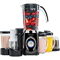 Andrew James Fitness Jug Blender - Multi Function 4 in 1 Smoothie Maker Machine with Ice Crusher Grinder & Juicer - Includes 1L Jug, 500ml and 300ml Cups, Plus 2 Travel Cups - 220W
