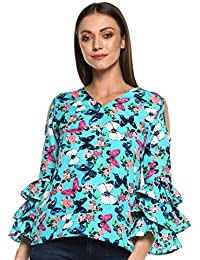 b24550505ad indietoga Women s Crepe Butterfly Print Top (Turquoise Blue  Plus Size XS  to 7XL)