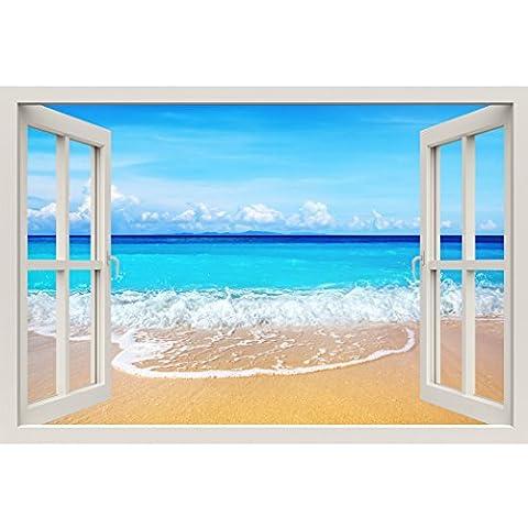 Fensterrahmen Wandbild Strand–Große Größe–schälen und Stick Stoff Illusion 3D Wand Aufkleber Foto (Illusion Glas Schiff)