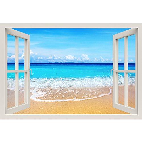 Marco para ventana pintado, playa, tamaño grande, diseño: illusion-decalcomania de pared de tela 3D-Sticker