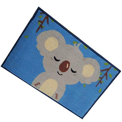 YH-THINKING Küche Haushalt Wohnen Möbel Wohnaccessoires Möbel Diele Flur Fußmatte rutschfest maschinenwaschbar Einfache Stil Mikrofaser Teppich 40 x 60 cm (blau Koala)