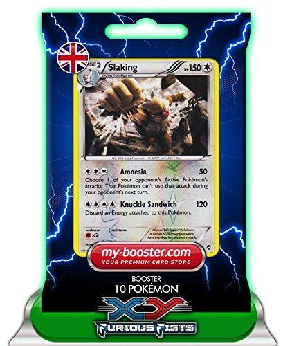 SLAKING (Letarking) reverse holo 83/111 150HP XY03 Furious Fists - Booster verbessert Thunderbolt mit 10 Englische Karten Pokemon