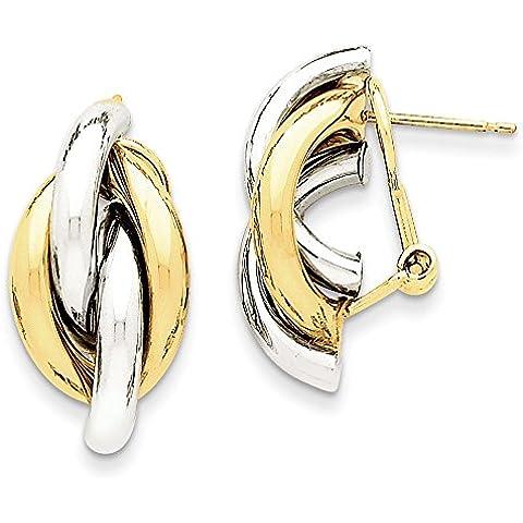 14K oro bicolore Swirl Omega Indietro post orecchini