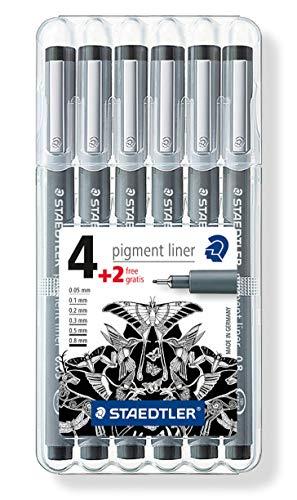 Staedtler 308 penna fineliner, nero, 0.05 - 0.8 mm, astuccio da 6
