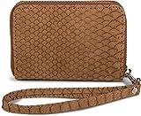 styleBREAKER Mini Geldbörse in weicher Krokodil Leder Optik, Reißverschluss mit Handschlaufe, Portemonnaie, Damen 02040108, Farbe:Cognac