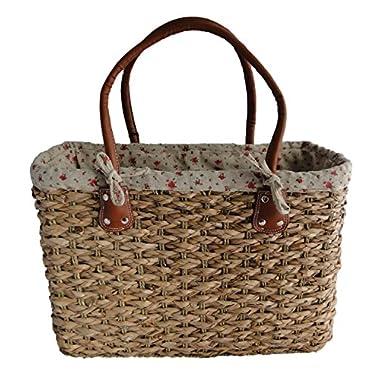 Stylish Large Shabby Chic Floral Design Ladies French Market Shopping Basket Bag Handbag