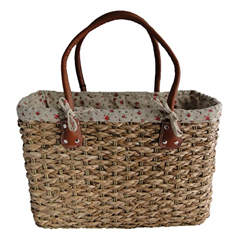 - 51z9LVH1jNL - Stylish Large Shabby Chic Floral Design Ladies French Market Shopping Basket Bag Handbag