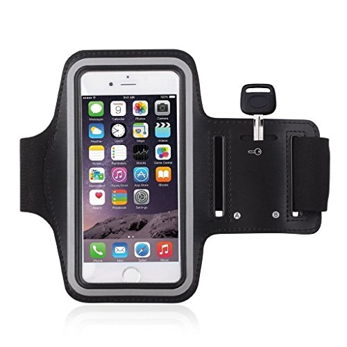 Auslese™ Mordern Sports Gym Jogging Running Armband Arm Holder Case Cover for For For Samsung Note 2 & 3, Iphone 6, Iphone 6S, HTC, Micromax, Samsung, Sony, Intex, LG, Microsoft And All Compatible with Cellphones 5.7 Inch (Black)